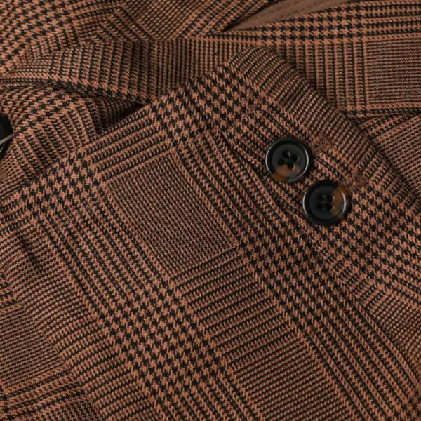 テーラードジャケット メンズ チェック柄 細身 スリム グレンチェック タータンチェック ベージュ ブラウン 秋 冬 カジュアル 韓国系ファッション K-POP|lowcos|09