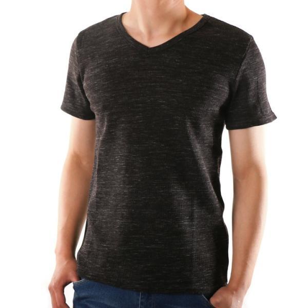 48c239d716c10e ... 半袖Tシャツ メンズ Vネック ワッフル 無地 杢 黒 赤 青 グレー カットソー インナー トップス ...