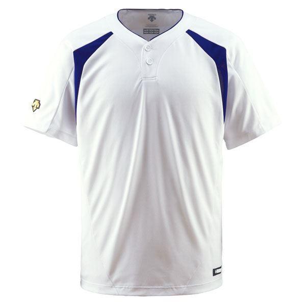 デサント(DESCENTE) ベースボールシャツ(2ボタン) (野球) DB205 Sホワイト×ロイヤルブルー O