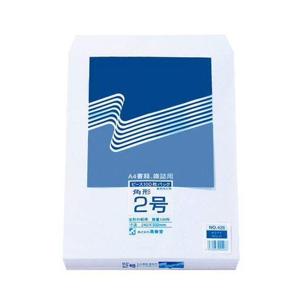 (まとめ) ピース R40再生ケント封筒 角2 100g/m2 〒枠なし ホワイト 426 1パック(100枚) 〔×4セット〕