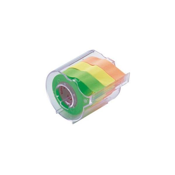 (まとめ) ヤマト メモック ロールテープ カッター付 15mm幅 オレンジ&レモン&ライム RK-15CH-A 1個 〔×15セット〕