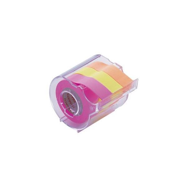 (まとめ) ヤマト メモック ロールテープ カッター付 15mm幅 オレンジ&レモン&ローズ RK-15CH-C 1個 〔×15セット〕