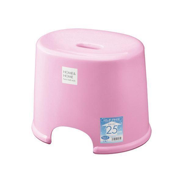 シンプル バスチェア/風呂椅子 〔250 パステルピンク〕 すべり止め付き 材質:PP 『HOME&HOME』〔代引不可〕