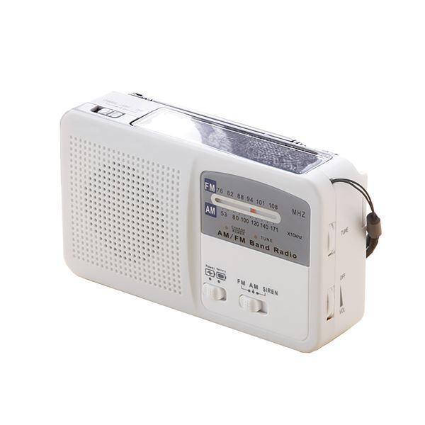 多機能 充電ラジオライト/防災グッズ 〔幅約14cm〕 AM FM ワイドFM サイレン LEDライト スマホ充電 〔災害対策 アウトドア〕〔代引不可〕