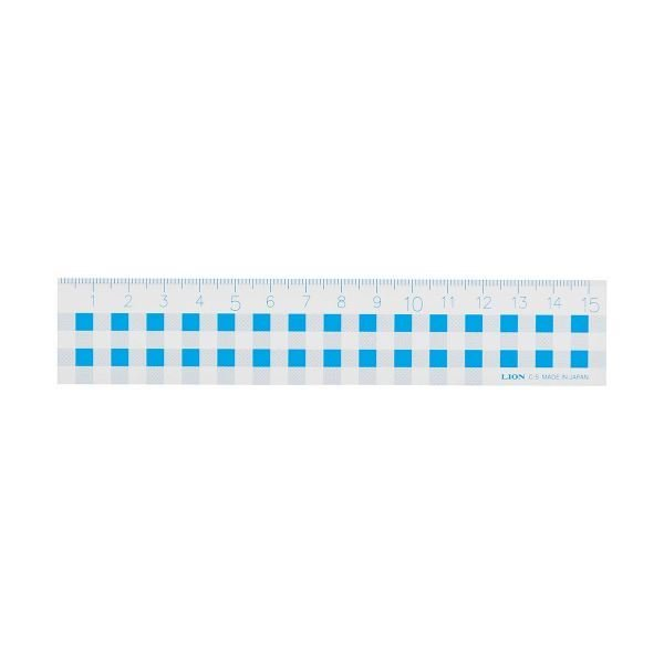 (まとめ) ライオン事務器 ギンガムチェック定規15cm ブルー C-5 1本 〔×30セット〕