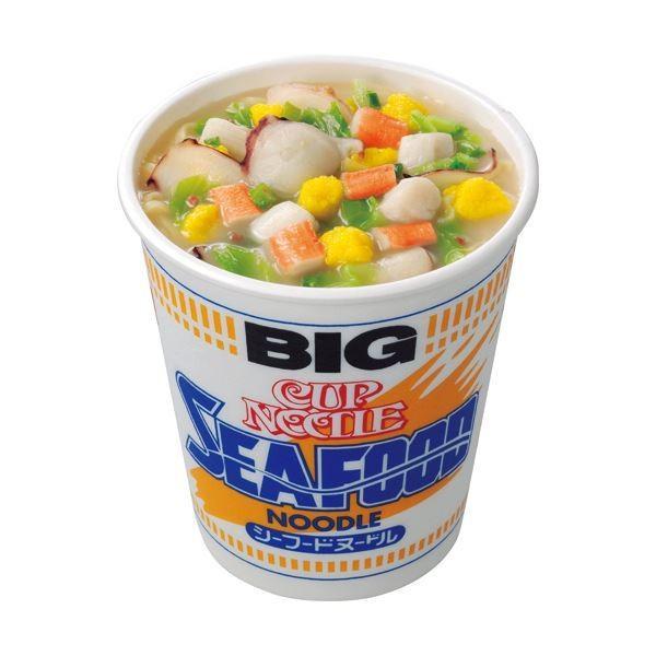 (まとめ)日清食品 カップ ヌードルシーフードヌードル ビッグ 104g 1ケース(12食)〔×2セット〕