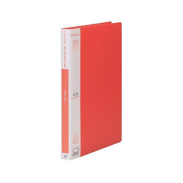 (まとめ) テージー マイホルダーファイン A4タテ型 40ポケット 赤 〔×5セット〕