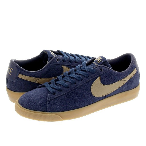 NIKE SB BLAZER LOW GT ナイキ SB ブレザー ロー GT MIDNIGHT NAVY/KHAKI/GUM LIGHT BROWN 704939-403