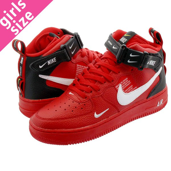 593de32c15 NIKE AIR FORCE 1 MID GS ナイキ エア フォース 1 ミッド GS UNIVERSITY RED/WHITE ...