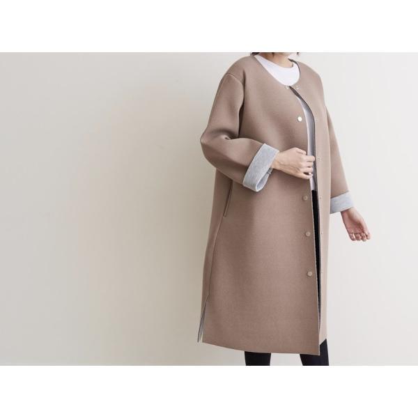 秋冬 ノーカラー ロング ジャケット 秋 コート 膝丈 ゆったり  送料無料|lput|20