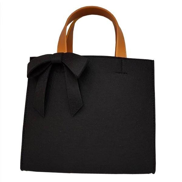 軽量 フェルト素材の仕切り付リボントートバッグ/ブラック送料無料