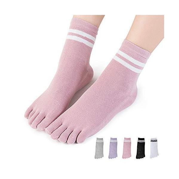 MgDa5本指ソックスレディース蒸れないフリーサイズ5本指靴下くるぶし丈吸汗速乾5色5足セット
