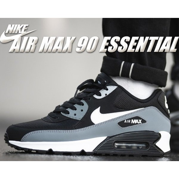 Nike Air Max 90 Essential Running Shoes Black Gray White AJ1285 018 Men's NEW