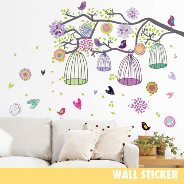 ウォールステッカー 木と鳥かご イラスト 花 フラワー 木 北欧 シール