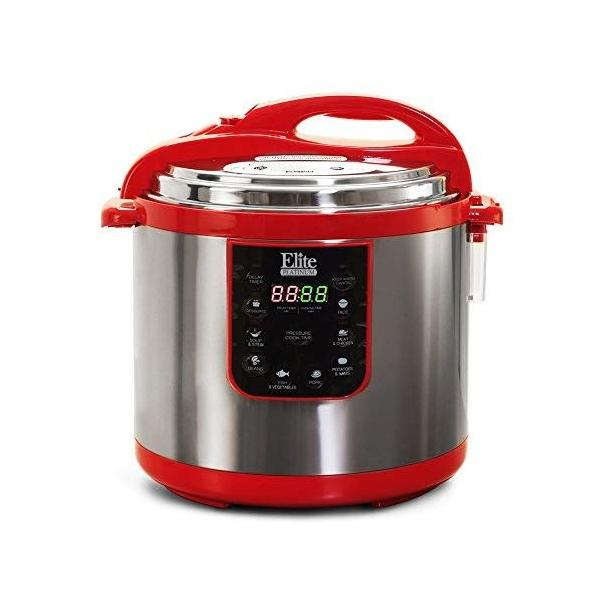 エリート プラチナ EPC 1013R マキシ-Matic 10 クォート 電気 圧力 鍋 、 赤 (ステンレス 製) lucia0322