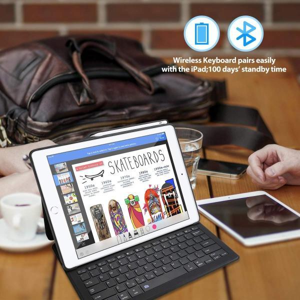 """ProCase iPad Pro 12.9"""" キーボード ケース Apple Pencilホルダー付き スリム スマートカバー スタンドケー"""