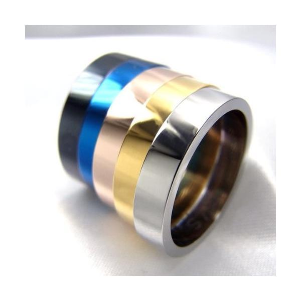 指輪 ステンレス リング 平打ち 4mm 平打 イエローゴールド 19号