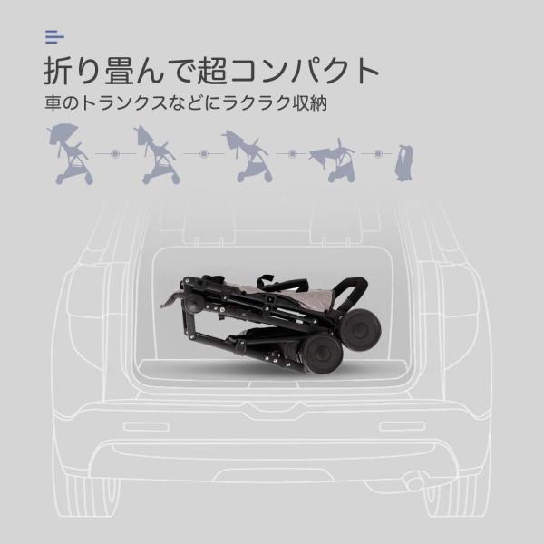 (newjp) b型ベビーカー 軽量4.1kg ハイシート コンパクト 片手開閉タイプ (灰色)|lucia0322|02