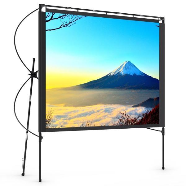 Vamvo 74.4インチ屋外自立型プロジェクタースクリーン 16:9 -折りたたみ可能なポータブル屋外映画スクリーン セットアップスタンド