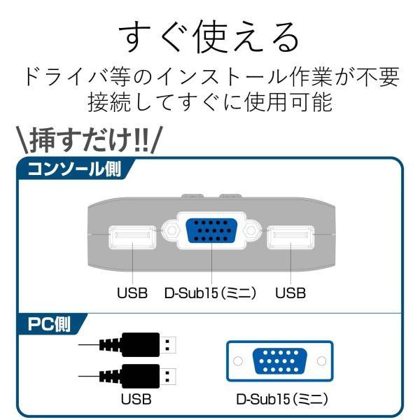 エレコム KVMスイッチ USB VGA 手元スイッチ 2台 KVM-KUSN|lucia0322|07