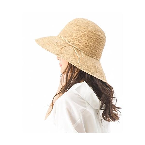 クイーンヘッド 3サイズ細編みラフィアハット UV 帽子 レディース 大きいサイズ つば広 ハット よけ 麦わら帽子 紫外線対策フリー56-
