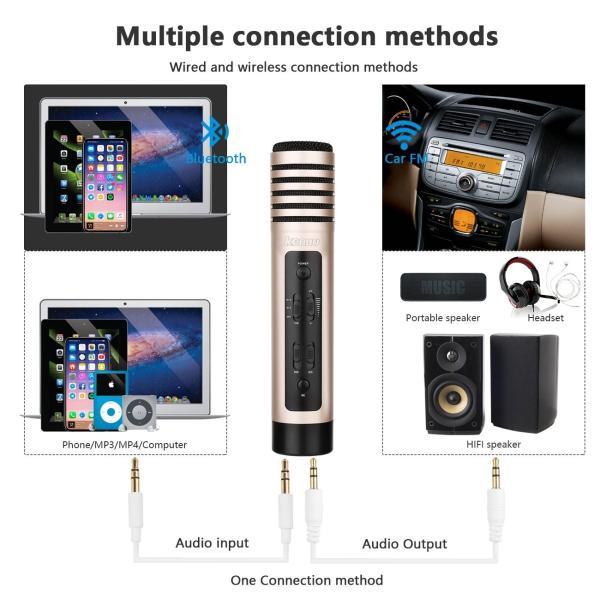 Kenuo Bluetooth カラオケマイク ポータブルスピーカー 高音質カラオケ機器 Bluetoothで簡単に接続 無線マイク 一人で