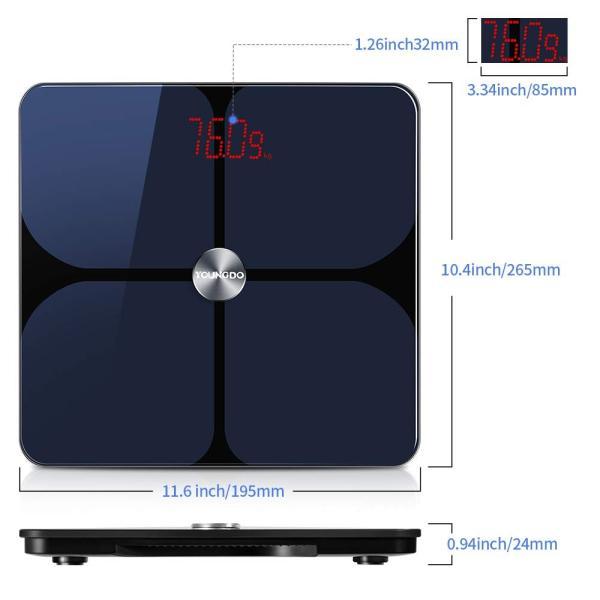 YOUNGDO 体重計 体脂肪計 体組成計 Bluetooth スマホ連動 23種類測定可能 体重/体脂肪率/体水分率/推定骨量/基礎代謝量|lucia0322|02