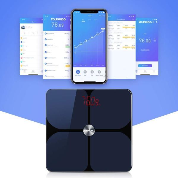 YOUNGDO 体重計 体脂肪計 体組成計 Bluetooth スマホ連動 23種類測定可能 体重/体脂肪率/体水分率/推定骨量/基礎代謝量|lucia0322|03