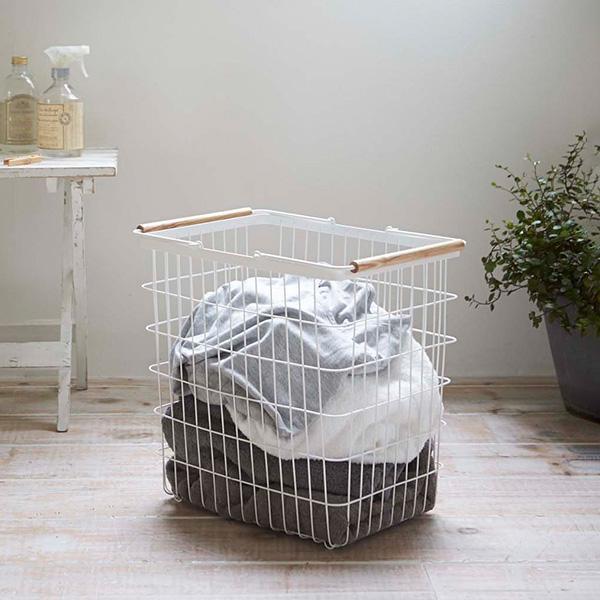 ランドリーバスケット L tosca トスカ 山崎実業 洗濯かご おしゃれ スリム ワイヤーバスケット 大容量