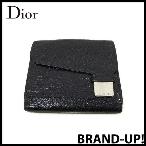 5716d1c6ddc4 Dior HOMME ディオールオム 財布 二つ折り メンズ レザー ウォレット ブラック 中古