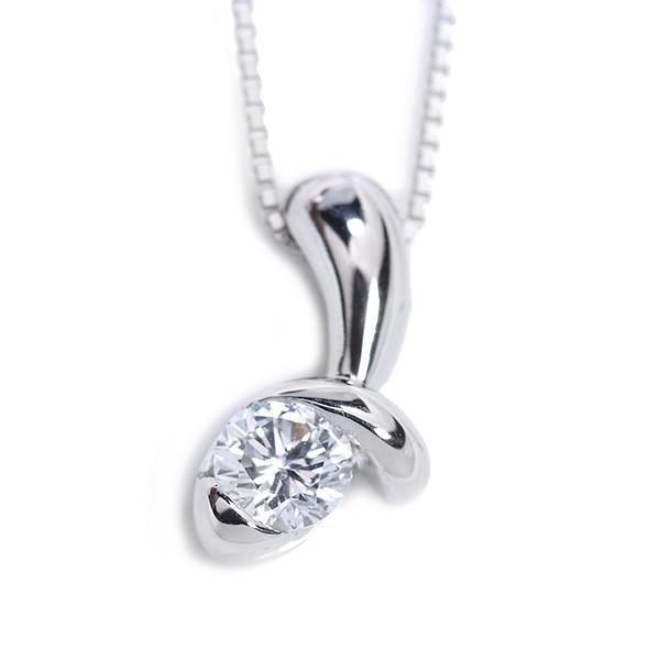VSレベルの透明度 ダイヤモンド 0.403カラット ネックレス PT900/PT850 肉厚デザイン /白・透明(ホワイト)/アウトレット・新品/届10/