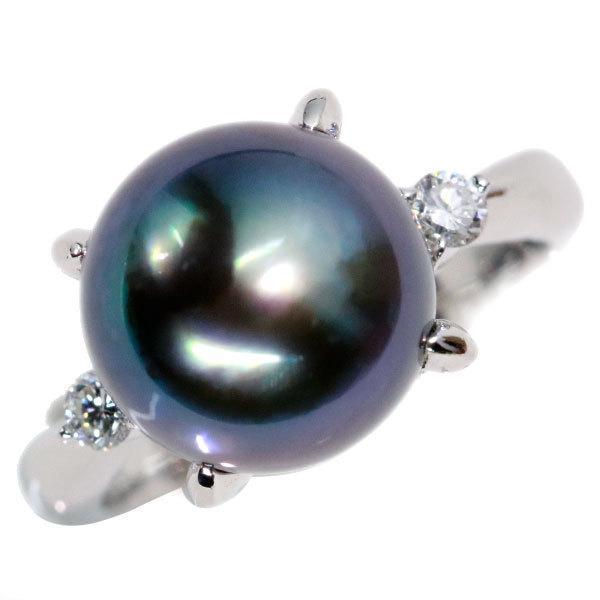 黒蝶真珠/パール リング/指輪 10.7ミリ位 プラチナ900 PT900 緑の光沢が力強い印象 シンプルデザイン /黒(ブラック)/アウトレット・新品/届10/1点もの