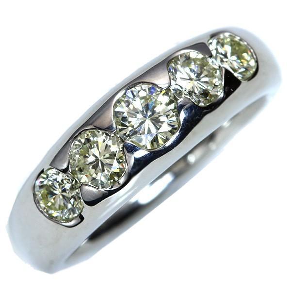 大粒VSレベル ダイヤモンド(ダイアモンド) 1.カラット リング/指輪 PT900 一文字・肉厚/白・透明(ホワイト)/アウトレット・新品/届10/