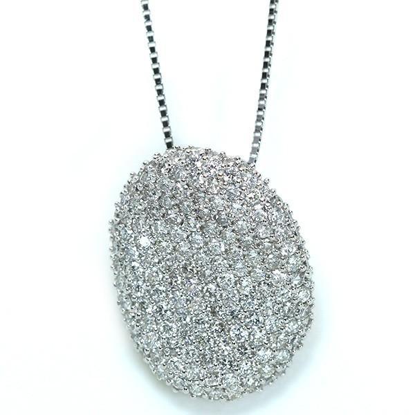 ダイヤモンド 2.0カラット ネックレス 18金ホワイトゴールド K18WG びっしりダイヤパヴェ ボリュームたっぷり /白・透明(ホワイト)/アウトレット・新品/届10/