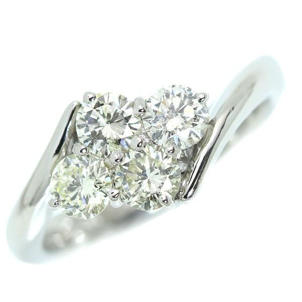 ダイヤモンド リング/指輪 1.009カラット プラチナ900 PT900 大粒4ストーン 肉厚 ほんのりイエローカラー /白・透明(ホワイト)/アウトレット・新品/届10/