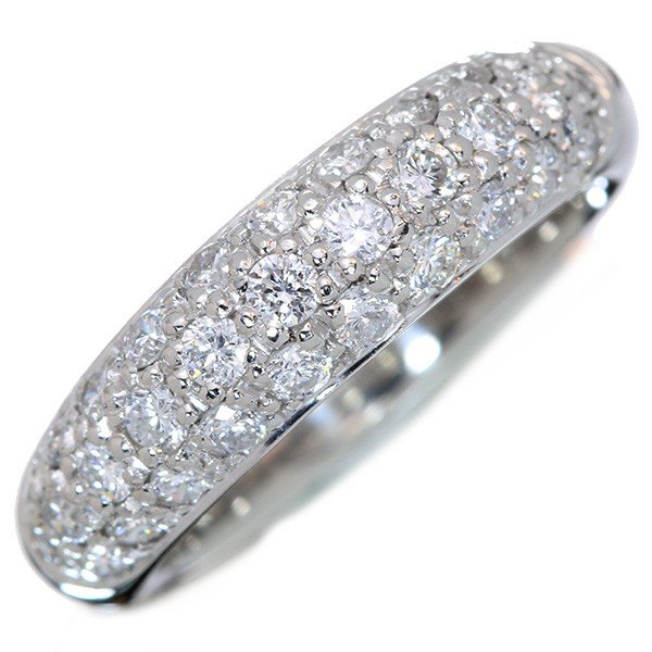 ダイヤモンド リング/指輪 0.70カラット プラチナ900 PT900 パヴェ びっしり3列 膨らみ 肉厚 /白・透明(ホワイト)/アウトレット・新品/届10