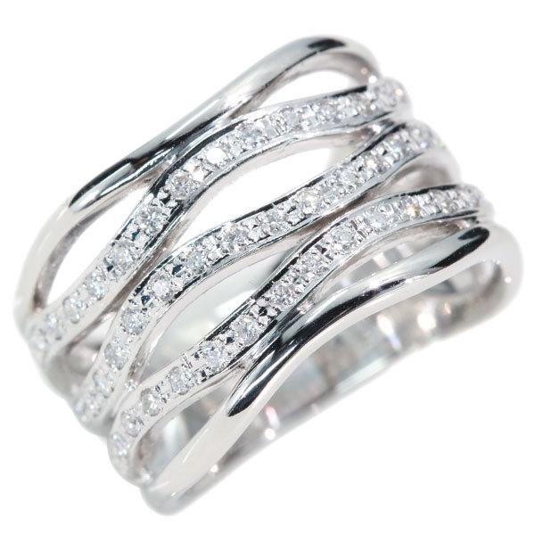 ダイヤモンド リング/指輪 0.320カラット プラチナ900 PT900 5連の曲線 幅広 貫録 肉厚/白・透明(ホワイト)/アウトレット・新品/届10/1点もの