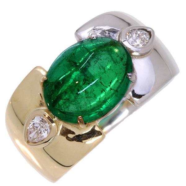 エメラルド リング/指輪 3.230カラット プラチナ900 PT900 こんもりカボッションカット 肉厚 鑑別書付 /緑(グリーン)/アウトレット・新品/届10/1点もの