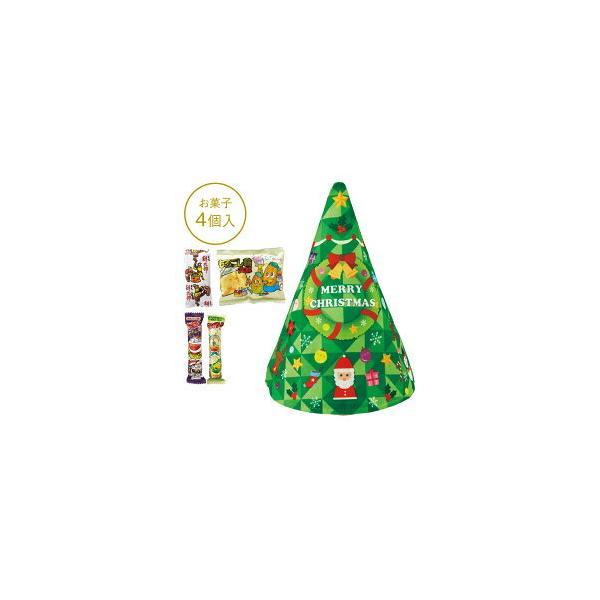 クリスマス お菓子 景品 ツリー型巾着 お菓子4 点詰合せ 60個セット販売 子供会・町内会 ノベルティ 販促品※代引不可