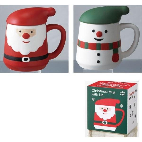 フタ付きマグカップ(2柄アソート)40個以上販売 クリスマス プレゼント X'mas 景品 ノベルティ
