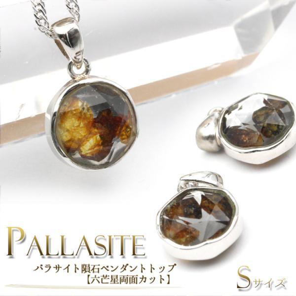パワーストーン 天然石 パラサイト隕石 六芒星両面カット ペンダントトップ シルバー925 10062005