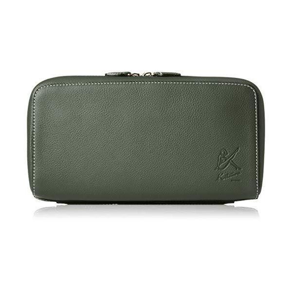 キタムラ セカンドバッグハンドグリップ付きY-1113ダークグリーン/ライトグリーンステッチ 緑 32311