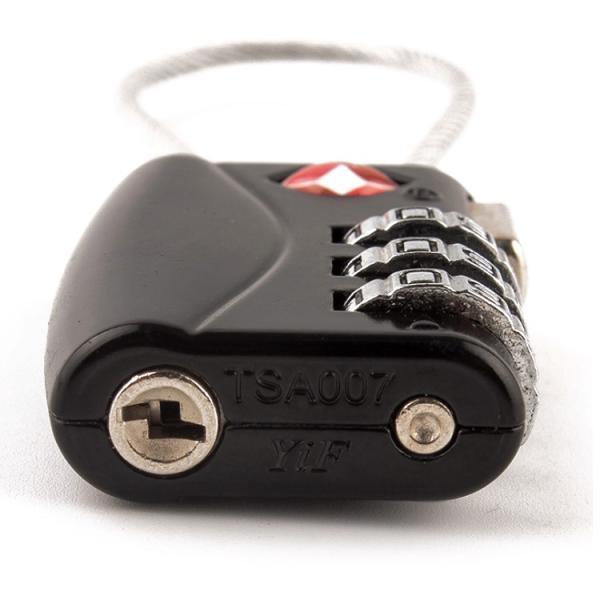 TSA ロック 南京錠 ワイヤー 鍵 3桁 ダイヤル式 暗証番号 旅行 空港 荷物 検査 施錠 手荷物 かばん ロッカー スーツケース zk253|lucky9|04