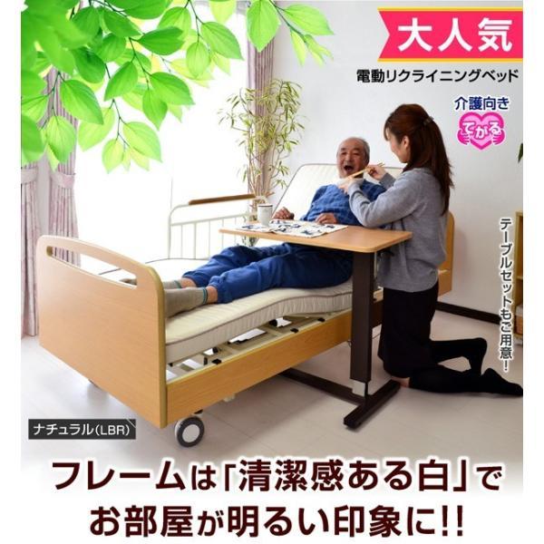 レビューで1年補償 電動ベッド 介護ベッド 電動 リクライニング 電動3モーターベッド てがる(サイドテーブル付き)-ART 開梱設置付き|luckykagu|02
