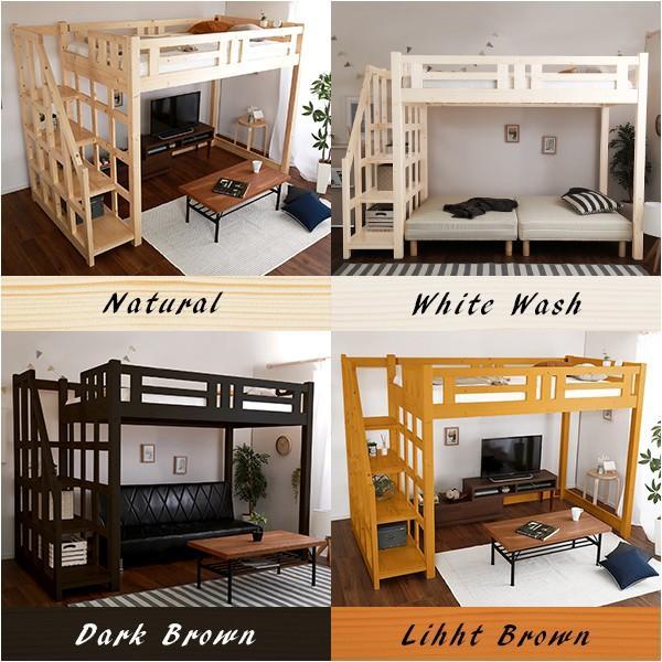 階段付き 木製ロフトベッド セミダブル|luckykagu|03