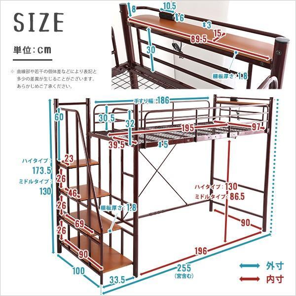 階段付パイプロフトベッド(4色)、ハイタイプでもミドルタイプでも選べる大容量の収納力 | Rostem-ロステム-|luckykagu|02