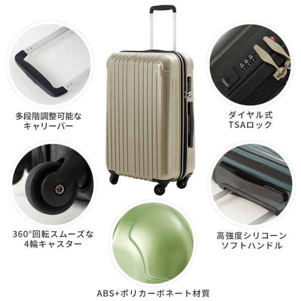 スーツケース Lサイズ 大型 軽量 2年間修理保証付き 送料無料 キャリーケース キャリーバッグ 旅行バッグ TY001|luckypanda|03