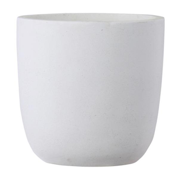 ファイバークレイ製 軽量 大型植木鉢 バスク ラウンド 43cm ホワイト|luckytail