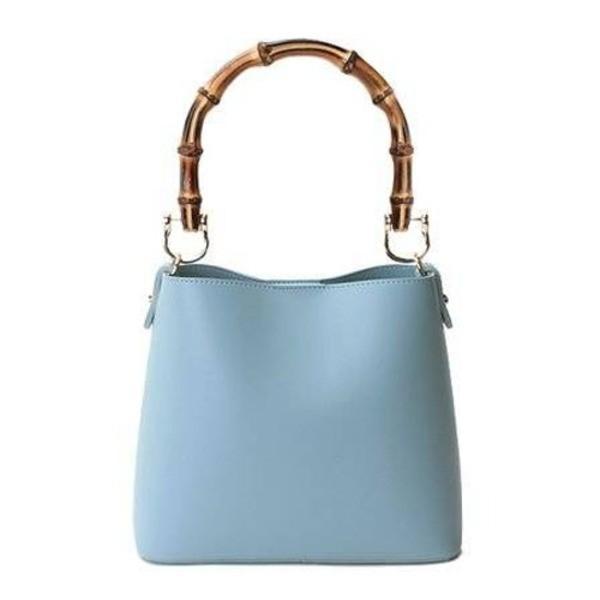 持ち手がポイント パカッと開く出し入れ便利なハンドバッグ/ブルー