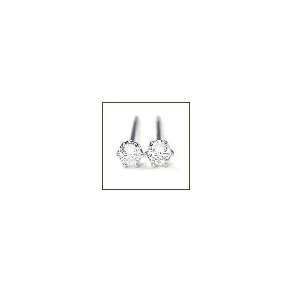 一粒ダイヤモンドピアス 0.1ct プラチナ pt900 ティファニー爪鉄板ジュエリー 一粒ダイヤ